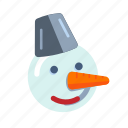 christmas, face, snow, snowman, holiday, winter