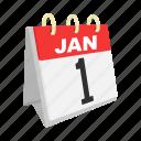 calendar, flip calendar, holidays, january, month, new year, one icon