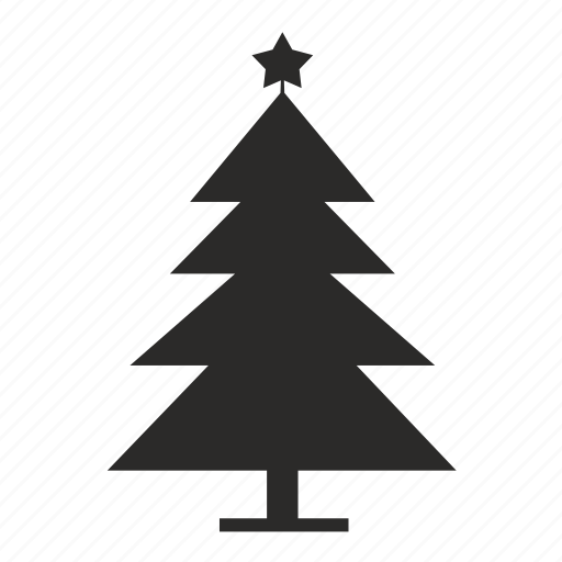 Fir, home, star, new, year icon