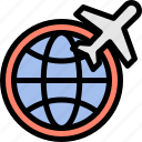 airplane, flight, global, travelling icon