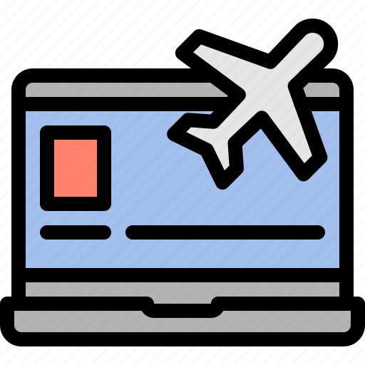 booking, flight, laptop, travel icon