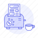 1, breakfast, coffee, cup, editorial, fresh, morning, news, newspaper, paper, press, toaster icon