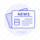 editorial, front, news, newspaper, newsprint, page, paper, press, subscription icon