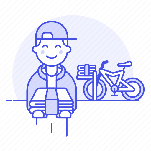 1, bicycle, bike, delivery, male, news, newspaper, paperboy, press, route, stack, subscription icon