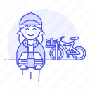 1, bicycle, bike, delivery, female, news, newspaper, papergirl, press, route, stack, subscription icon