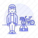 bike, bicycle, papergirl, route, news, stack, delivery, female, newspaper, press, subscription icon