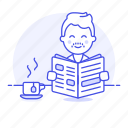 1, coffee, cup, male, morning, news, newspaper, press, reading, subscription icon