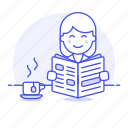 2, coffee, cup, female, morning, news, newspaper, press, reading, subscription icon