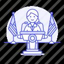 spokeperson, speak, news, spokesperson, speech, spokesman, nominee, podium, rostrum, candidate, female