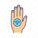 contactless, hand, implant, label, nfc, payment, sticker icon