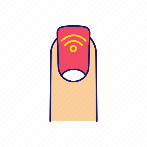 chip, contatless, finger, manicure, nail, nfc, technology icon