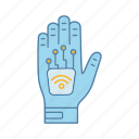 chip, contactless, glove, hand, implant, microchip, nfc icon