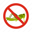 animal, control, disease, grasshoppers, pest, prohibition, warning icon
