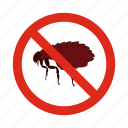 animal, control, disease, fleas, pest, prohibition, warning icon