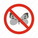 animal, butterfly, control, disease, pest, prohibition, warning icon