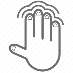 double, finger, four, gesture, hand, tap icon