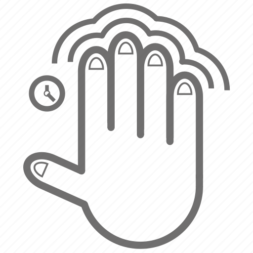 double, finger, four, gesture, hand, tap, time icon