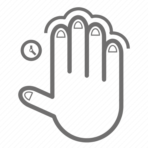 finger, four, gesture, hand, single, tap, time icon