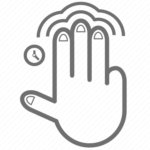 double, finger, gesture, hand, tap, three, time icon