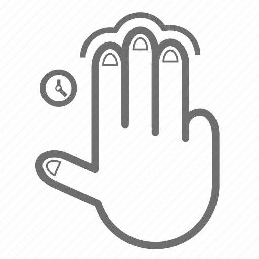 finger, gesture, hand, single, tap, three, time icon