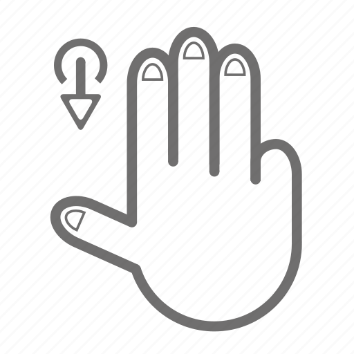down, finger, gesture, hand, three, touch icon
