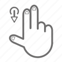 down, finger, gesture, hand, touch, two icon