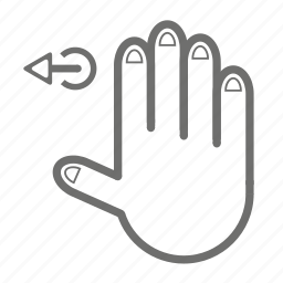 finger, four, gesture, hand, left, touch icon