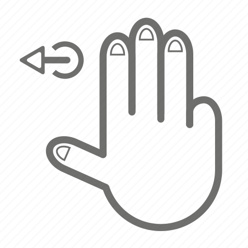finger, gesture, hand, left, three, touch icon