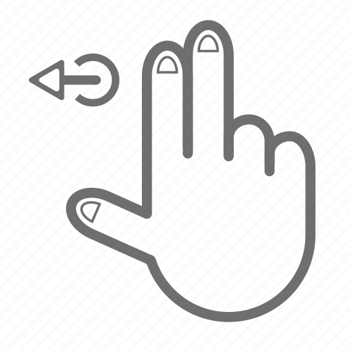 finger, gesture, hand, left, touch, two icon
