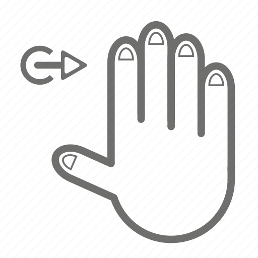 finger, four, gesture, hand, right, touch icon
