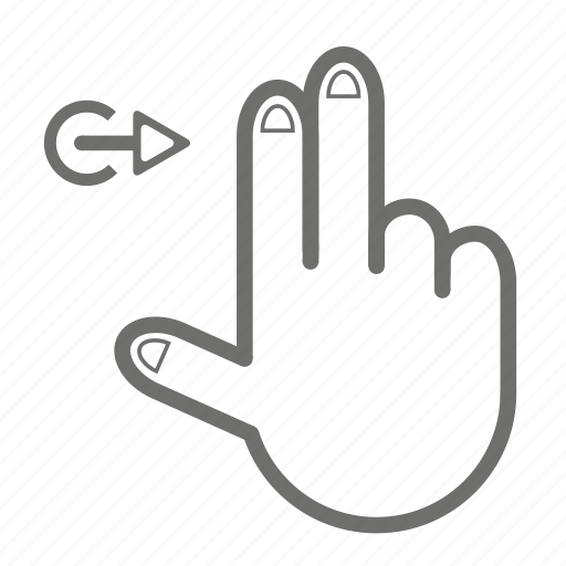 finger, gesture, hand, right, touch, two icon