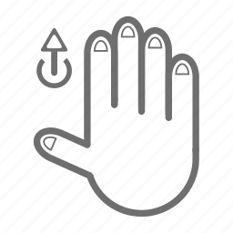 finger, four, gesture, hand, touch, up icon