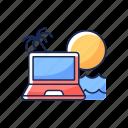 computer, freelance, vacation, beach