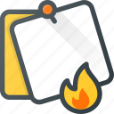 burn, comment, fire, message, note, task icon