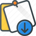 comment, download, message, note, task icon