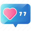 chat, heart, love, message, notification, social icon