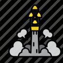 danger, energy, missile, nuclear, radiation, rocket, war icon