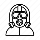 dangerous, gas mask, mask, nuclear, radioactivity, warning icon