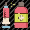 and, bottle, syringe