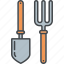 equipment, garden, gardening, hand tools, rake, shovel, tools icon