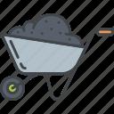dirt, equipment, garden, gardening, soil, wheelbarrow icon