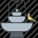 bird bath, decoration, equipment, fountain, garden, gardening