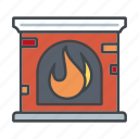 decoration, fire, fireplace, flames, home, interior icon