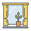 curtain, decoration, flower pot, home, interior, window, windowsill icon