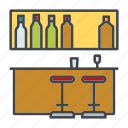 bar, barstool, counter, decoration, drinks, home, interior