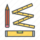 decoration, folding rule, home, interior, measuring, pencil, spirit level icon