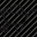 equipment, wheelbarrow, gardening, garden, dirt, soil icon