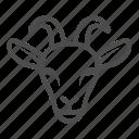 animal, goat, farm, mammal, head, horn, ears
