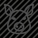 animal, pig, meat, domestic, head, ears