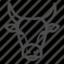 bull, animal, farm, power, cow, head